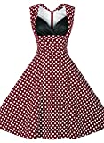 Miusol® Women's Cut Out V-Neck Vintage Casual Polka Dot 1950'S Retro Dress (XX-Large, Red)