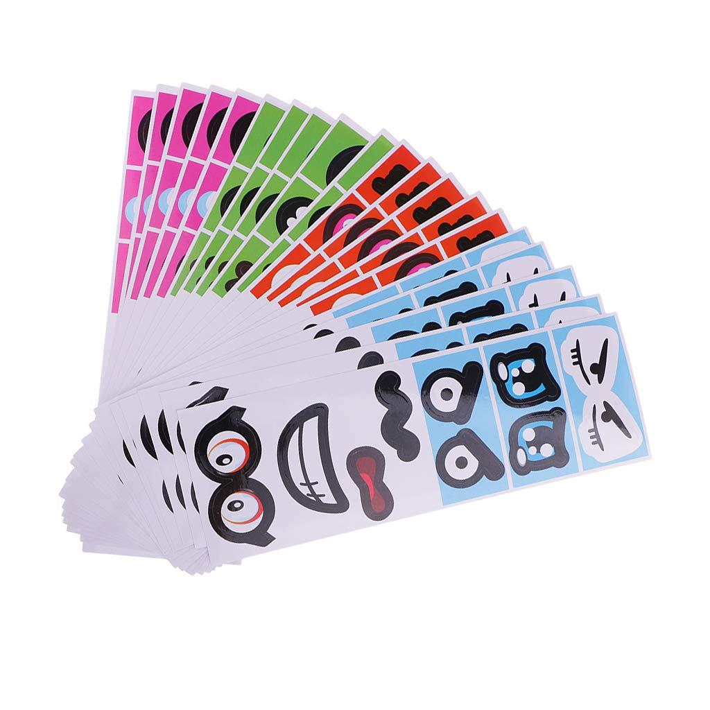 Baoblaze 20pcs Autocollants Enfant Fille Gar/çon en PVC Transparent Visage Expression Stickers Color/é pour D/écorations Enfants Chambre Scrapbooking Artisanat