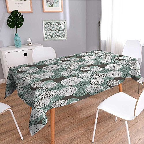 - SCOCICI1588 Water Resistant Tablecloth GreenDesign with Hydrangeas Art Print Sage Green Olive Green and White Great for Buffet Table, Parties, Holiday Dinner, Wedding & More-W23 x L23