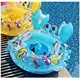 Baby Airbags Floating Inflatable Baby Swim Float Crab Seat Swimming Ring with Handles (Blue)