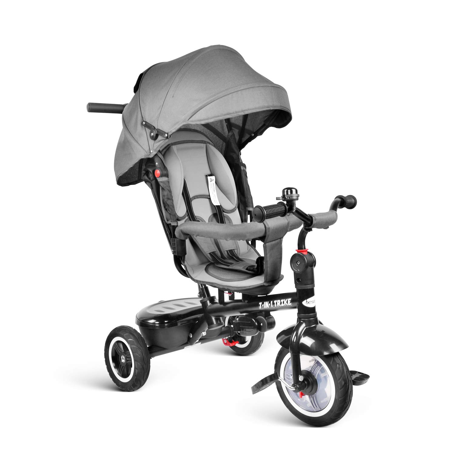 besrey Kids Tricycle 7-in-1 Baby Trike Tricycle with Push Handle/Wheel Clutch/Rotating and Reclining Seat for Children to Sleep in - Gray