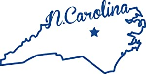ND372B State of North Carolina Script Decal Sticker | 5.5-Inches By 2.7-Inches | Premium Quality Blue Vinyl