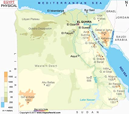 Egypt Physical Map Amazon.: Egypt Physical Map (36