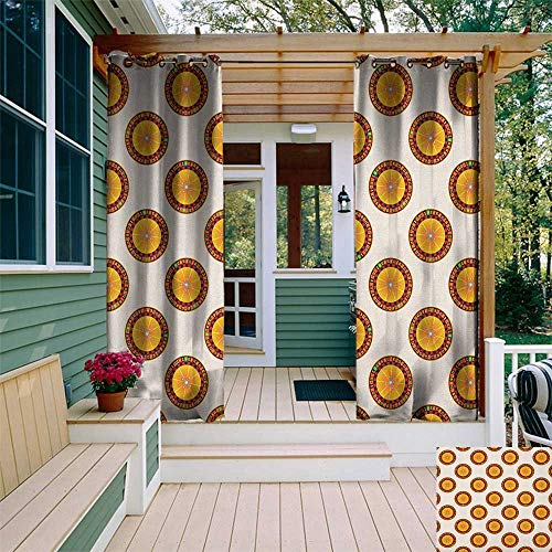 leinuoyi Casino, Outdoor Curtain Kit, Casino Roulette Cartoon Pattern Nights Vacations Parties Enjoyment Crowded, Outdoor Curtain Set for Patio Waterproof W72 x L96 Inch Orange Red Black