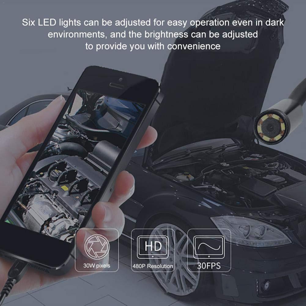 Yestter C/ámara de Inspecci/ón Megap/íxeles Impermeable con 6 LED Ajustable para Computadora y Telefonos Android Full HD Boroscopio Endoscopio