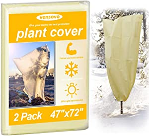2 Pack Plant Covers Freeze Protection - 1.77oz 47x72 inch Tree Cover Rectangle Frost Protection Blankets for Plants, Reusable Shrub Jakets Covers for Winter, with Drawstring