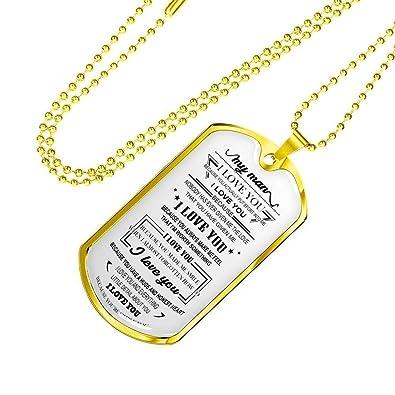 122d48cf60a7 Amazon.com: John-dhh Birthday Gifts For Men Dog Tag - Dear My Man ...