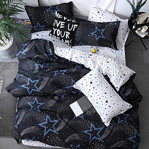 Vefadisa Black Full Comforter Sets with 1 Comforter Cover 1 or 2 Pillow Covers 1 Flat Sheet-3 or 4pcs with Pattern Printed White Blue Pentacle Printed Pattern Twinkling Stars Bedding Set for Teen