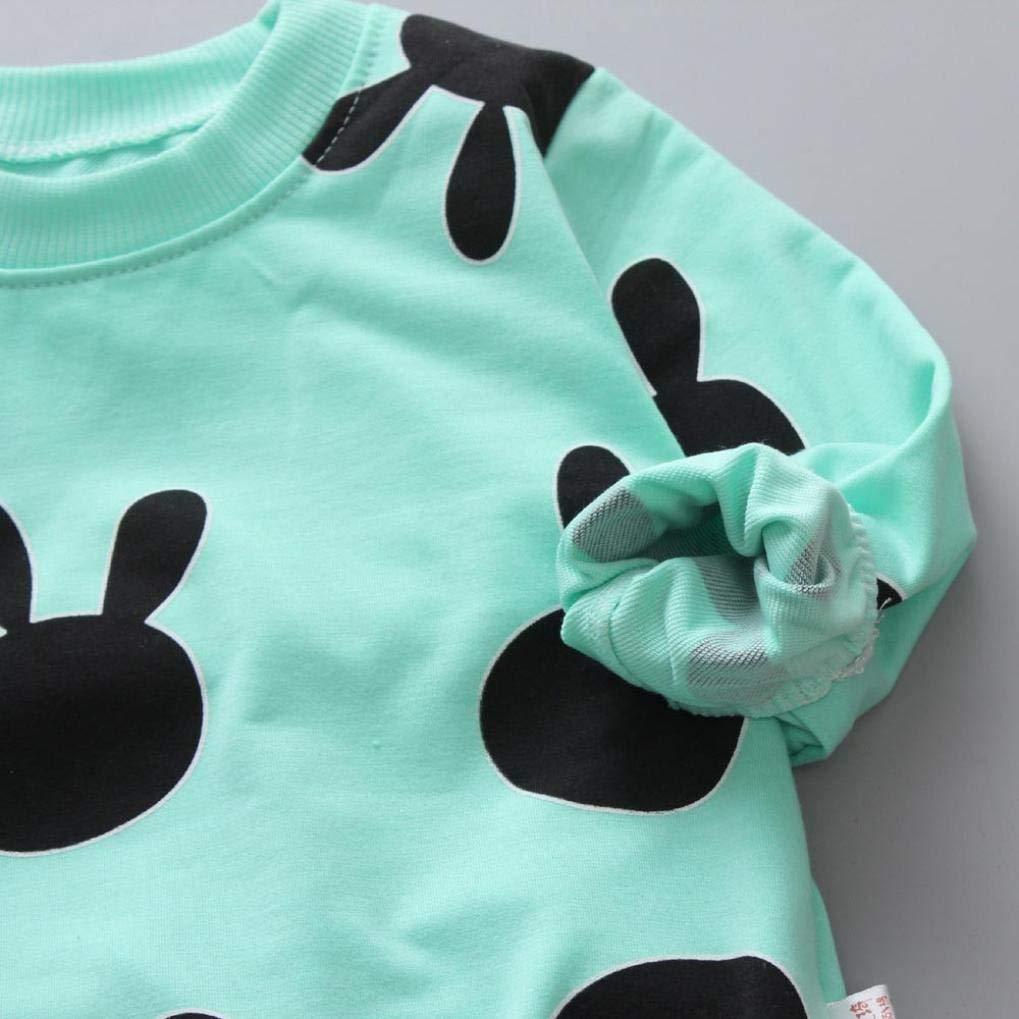 kaiCran 2Pcs Toddler Baby Boy Girl Long Sleeve Rabbit Print Top+Pants Legging Cute Clothes Outfits Sets