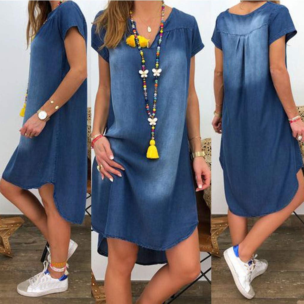 Leewos Loose Mini Dress,Women Plus Size Off Shoulder Ruffle Dresses Denim Summer Beach Sundress