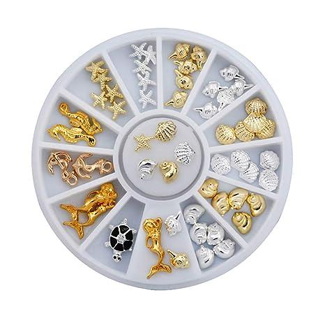 Kanggest.decoración de uñas Arte para Mujer DIY Rhinestone Adorno Navidad Serie Parche Dorado Ruedas