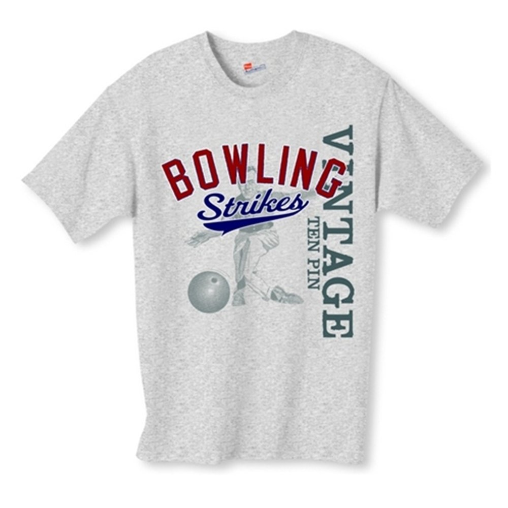 Bowling Strikes Vintage T-Shirt (Medium, Gray) by Bowlerstore Products