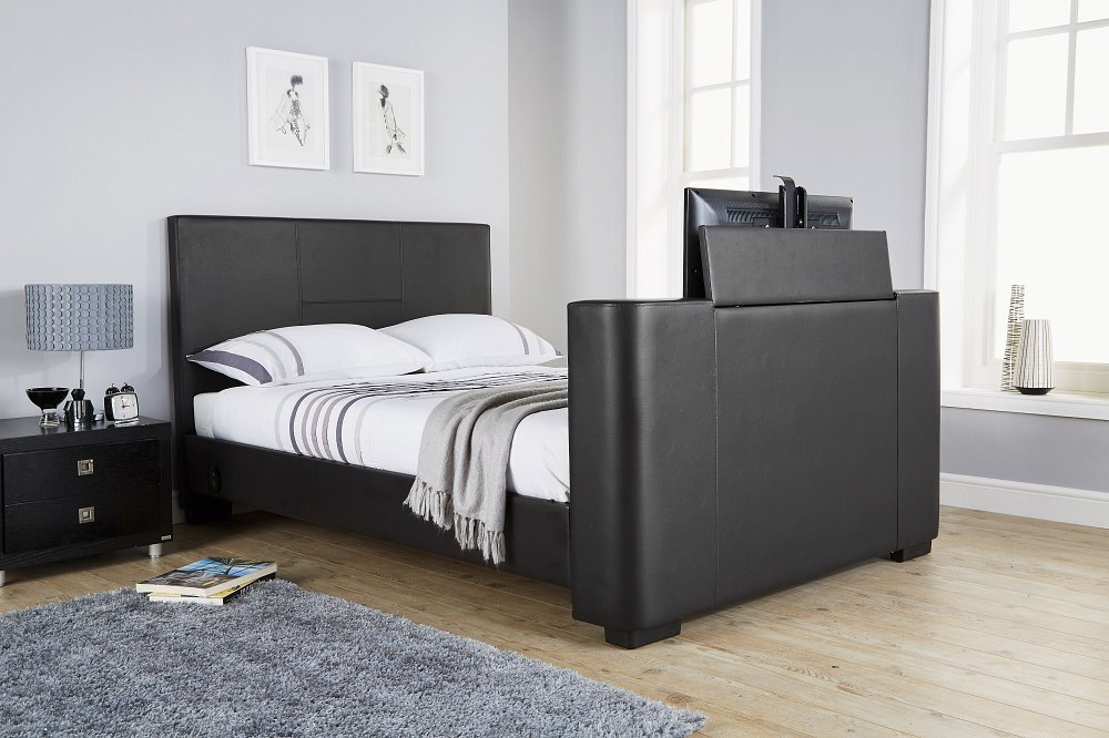 Newark Grey Fabric Electric Tv Bed 4ft6 Double Amazoncouk