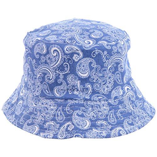 - BYOS Fashion Packable Reversible Black Printed Fisherman Bucket Sun Hat, Many Patterns (Paisley Royal Blue)