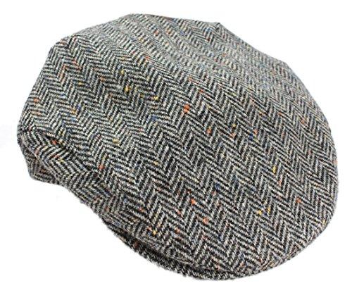 Mucros Weavers Men's Irish Flat Cap Wool Grey Herringbone Made in Ireland (Irish Herringbone)