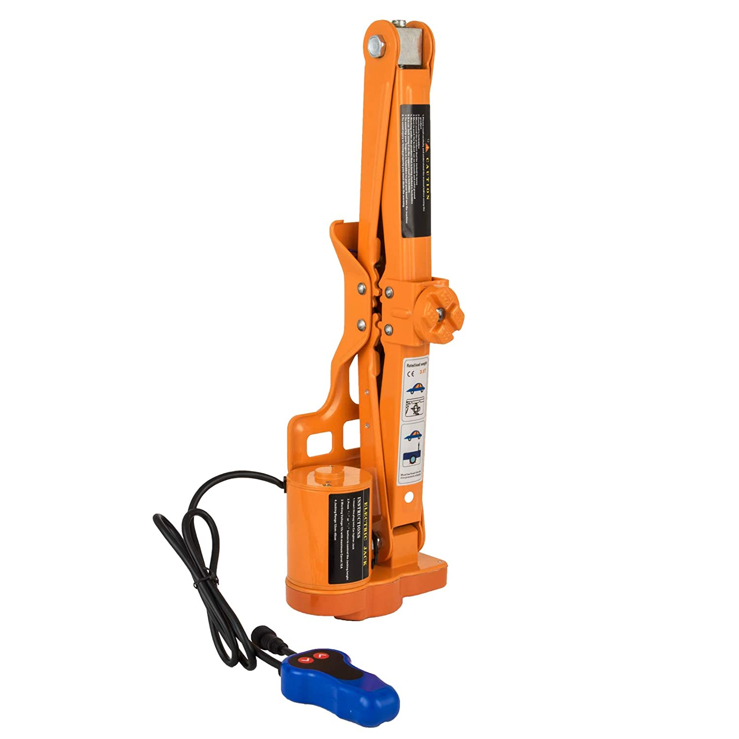 3T 6600LBS Mophorn 12V Electric Car Jack 3 Ton 6000LBS Scissor Lift Jack Electric Scissor Jack 1//2 Impact Wrench Tire Change Repair Tool