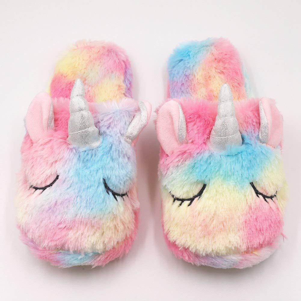 Cute Unicorn Animal Slippers Cozy Fleece Memory Foam Anti-Slip Indoor /& Outdoor Slipper for Women Girls