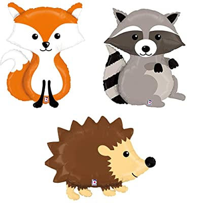 Woodland Raccoon Fox Hedgehog Mylar Balloon Bundle: Toys & Games