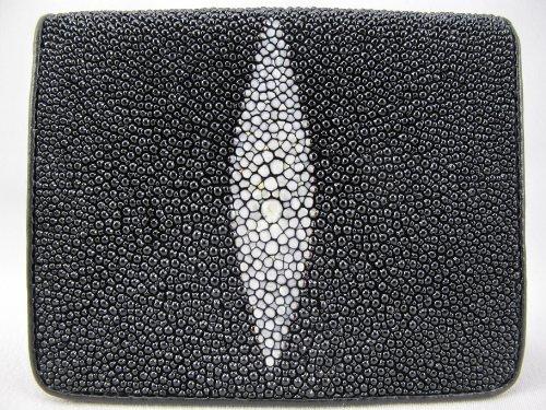 Leather Black Diamond PELGIO Skin Black Genuine Stingray Wallet Bifold wxOt6f