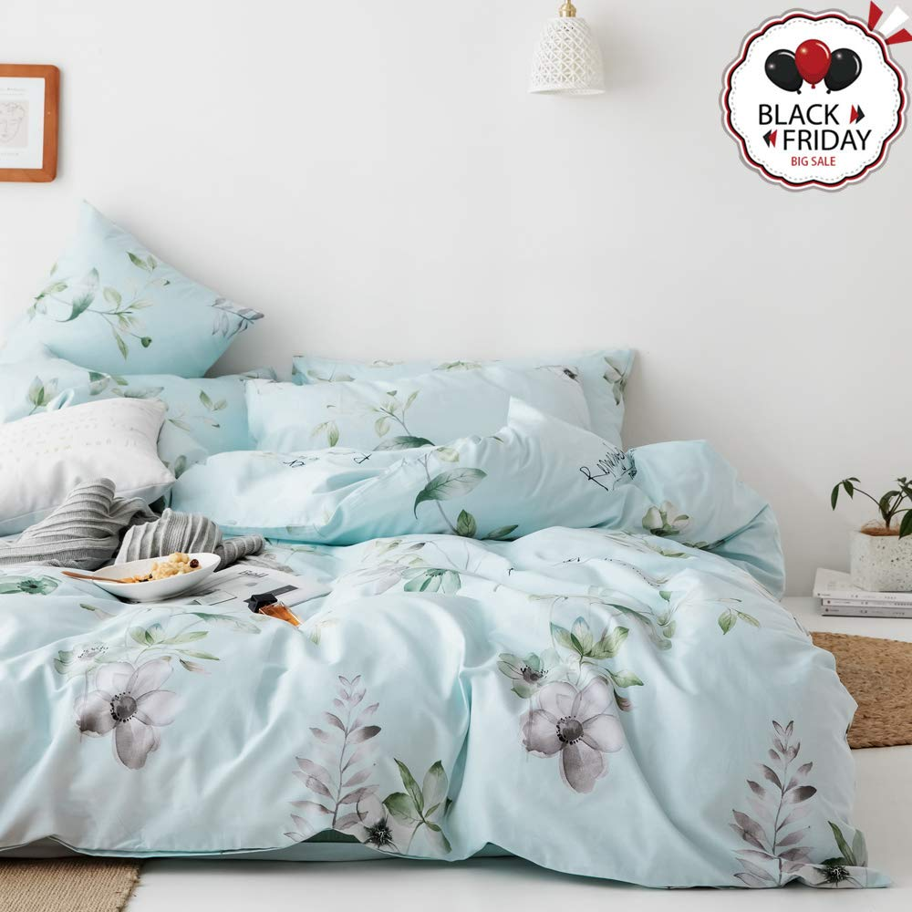VCLIFE Cotton Full/Queen Flowers Branch Bedding Duvet Cover Sets Shabby Chic Floral Leaf Bedding Collections for Girl Woman Children, Lightweight Comfortable Garden Style Bedding Sets Queen