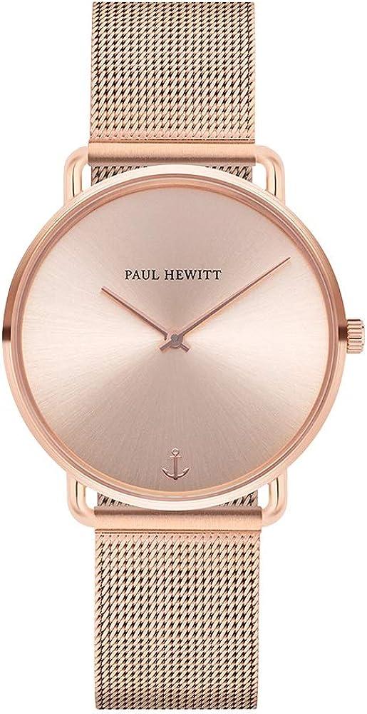 PAUL HEWITT Reloj de muñeca para Mujer en Acero Inoxidable Miss Ocean Rose Sunray - Reloj de Pulsera de Acero Inoxidable en Oro Rosa, Reloj de muñeca para Mujer con Esfera en Oro Rosa