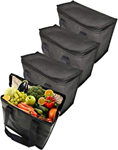 4Pack Reusable pouch sible,Food refrigerated and Insulated storage Bag,Great for Grocery Shopping(Black Color)