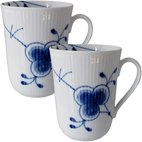 2 Kaffeebecher  37cl Blue Fluted ROYAL COPENHAGEN Musselmalet Gerippt