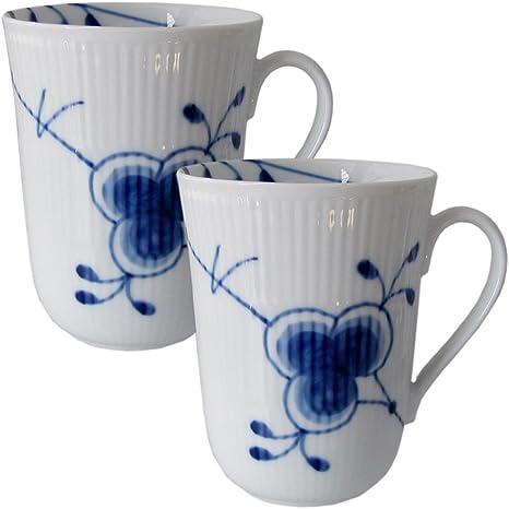 2 Kaffeebecher  37cl Blue Fluted ROYAL COPENHAGEN Musselmalet Gerippt