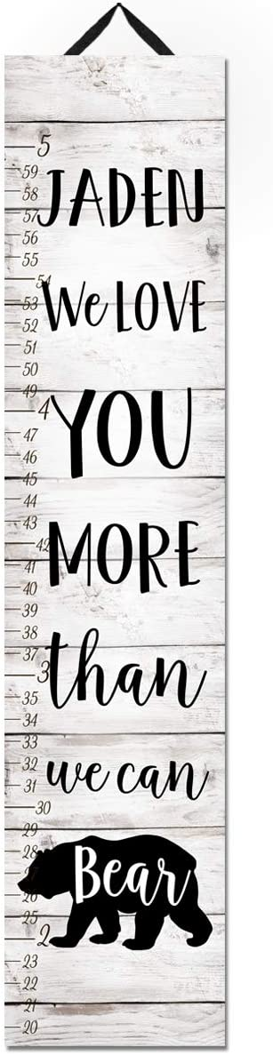Toad and Lily We Love You More Than we can Bear White Growth Chart Kids Birthday Bedroom Nursery Personalized Kids Growth Chart Height Chart GC0460