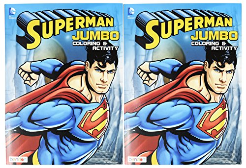 Set of 2 Superman Jumbo Coloring & Activity Book! 96 Pages - Tear and Share Pages - Coloring and Activity Book Perfect for any Superman Fan!