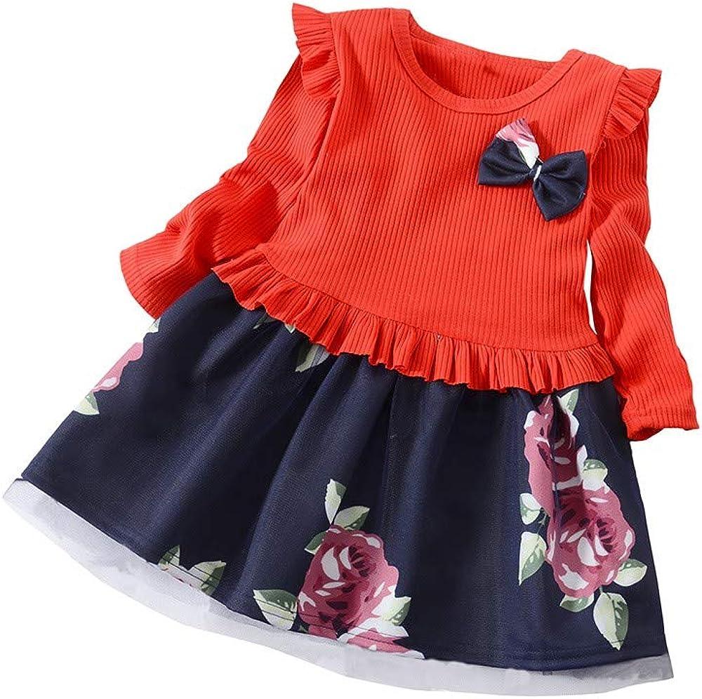 LANSKIRT Ropa de Recién Nacido Infantil bebé niñas Vestido Estampado de Flores del Arco Princesa Vestido de Manga Larga Otoño e Invierno Jumpsuit: Amazon.es: Ropa y accesorios