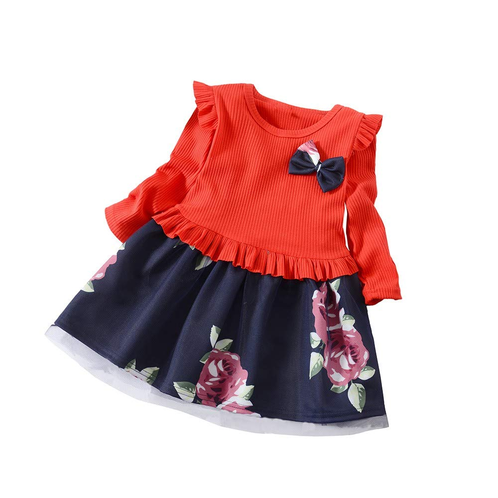 Transer Girls Floral Print Dress Outfits Ruffles Long Sleeve Bow Crew Neck Patchwork Dresses for Baby Girls