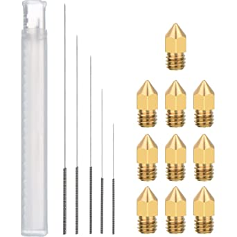 0.2 0.3 0.4 0.5 0.6mm and 5 Pcs Cleaning Needles YOTINO 15 Pcs 3D Printer Nozzle and Cleaning Kit Including 10 Pcs MK8 Nozzles 0.2 0.3 0.4 0.5 0.6mm
