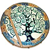 Goat Skin Frame Drum with Tree Of Life Design Handmade in Java