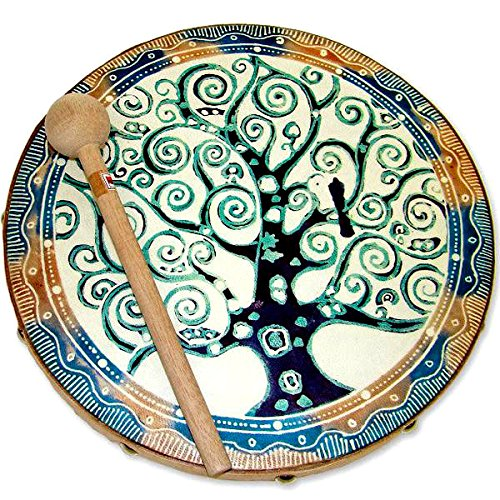 Goat Skin Frame Drum with Tree Of Life Design Handmade in Java by Global Crafts