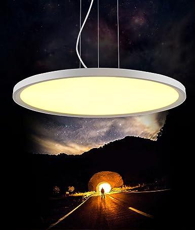 zmh - Lámpara colgante LED Panel LED regulable mando a ...
