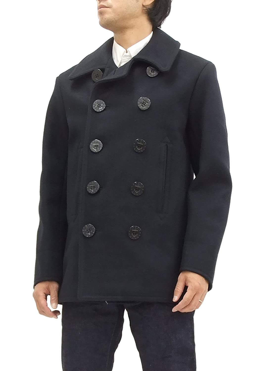 a758ee7823d Buzz rickson s Men s U.S. Navy Wool Pea Coat BR11554 Double-Breasted  Overcoat