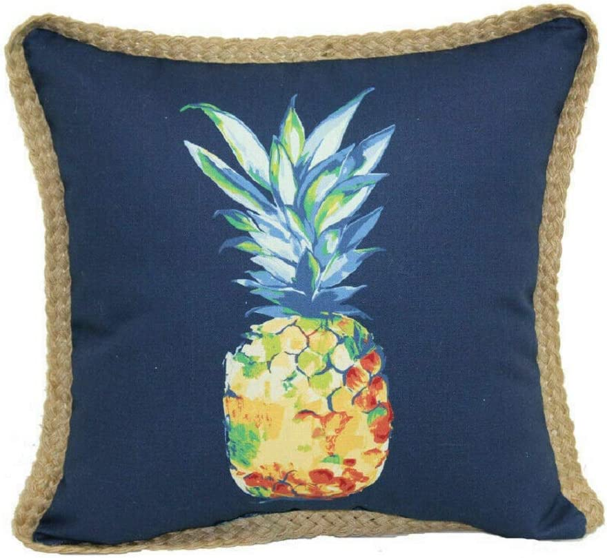 allen + roth Blue Pineapple Outdoor Furniture Decorative Pillow