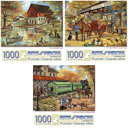 Bits and Pieces - Value Set of Three (3) 1000 Piece Jigsaw Puzzles for Adults - Each Puzzle Measures 20