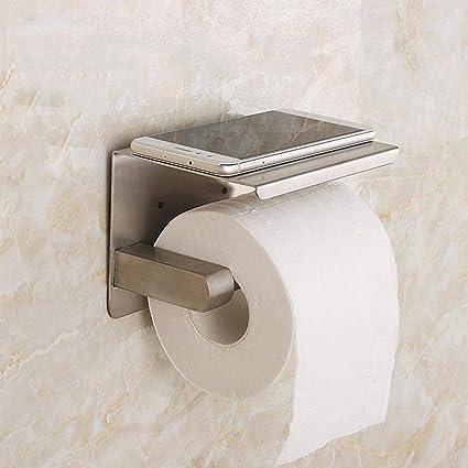 MOGOI Portarollos Papel Higienico, Extra Fuerte 304 de Acero Inoxidable Portarrollos Baño Adhesivo con el Teléfono Móvil Estante de Almacenamiento ...