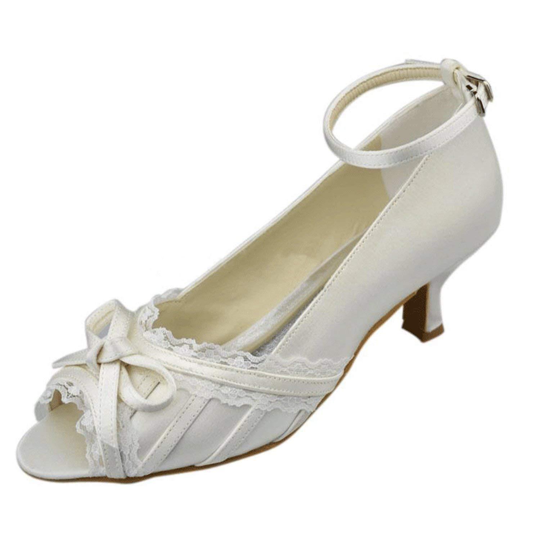 ZHRUI Mädchen Knöchelriemen Knoten Satin Spitze Rand Braut Hochzeit Sandalen (Farbe   Ivory-5cm Heel Größe   5 UK)