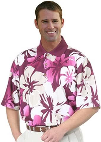 Monterey Club Mens Dry Swing Mini Matrix Textured Giant Hawaiian Print Shirt #1577 (Plum/Khaki, X-Large)