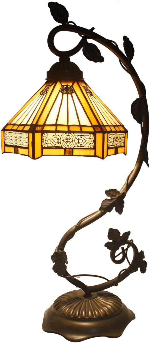 Tiffany Lamp Yellow Hexagon Stained Glass and Mission Style End Coffee Table Lamps Wide 8 Inch Height 22 Inch for Living Room Antique Desk Beside Bedroom Reading Lamps S011 WERFACTORY