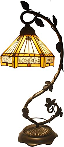 Tiffany Lamp Yellow Hexagon Stained Glass Mission Style Reading Table Light W8H20 INCH S011 WERFACTORY LAMPS Parent Friend Lover Kid Living Room Study Office Coffee Bar Desk Bedside Antique Craft Gift