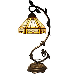 Tiffany Lamp Yellow Hexagon Stained Glass and Mission Style End Coffee Table Lamps Wide 8 Inch Height 22 Inch for Living Room Antique Desk Beside Bedroom Reading Lamps Set S011 WERFACTORY