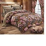 20 Lakes Woodland Hunter Camo Comforter, Sheet, Pillowcase Set (Queen, Pink & Forest)