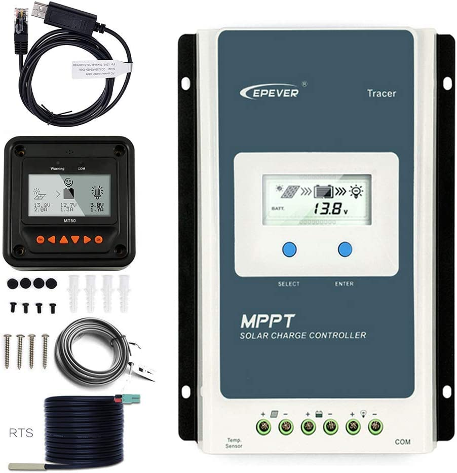 EpRec 30A 12V 24V PWM Solar Charge Controller Compatible with Lead Acid//Lithium-ion//Lithium Iron Phosphate Battery