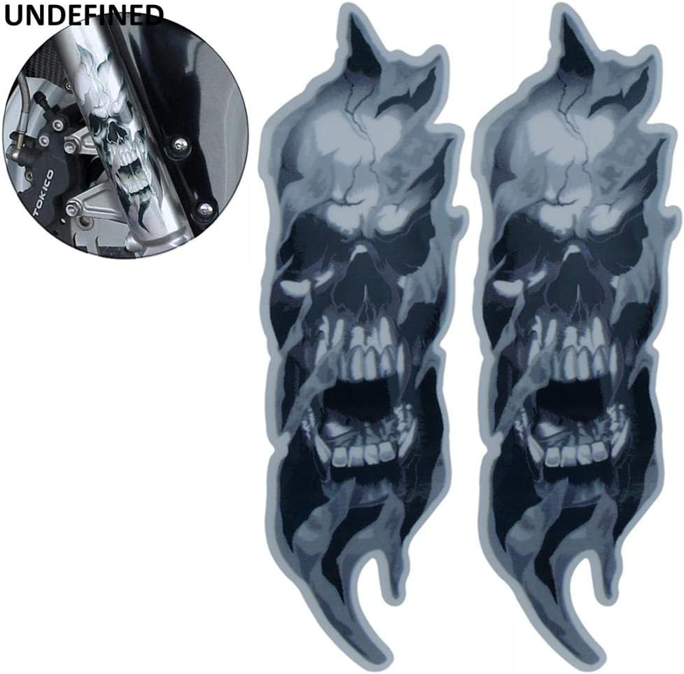 Pair Black Front Fork Skull Decals Graphic Stickers Universal For Harley