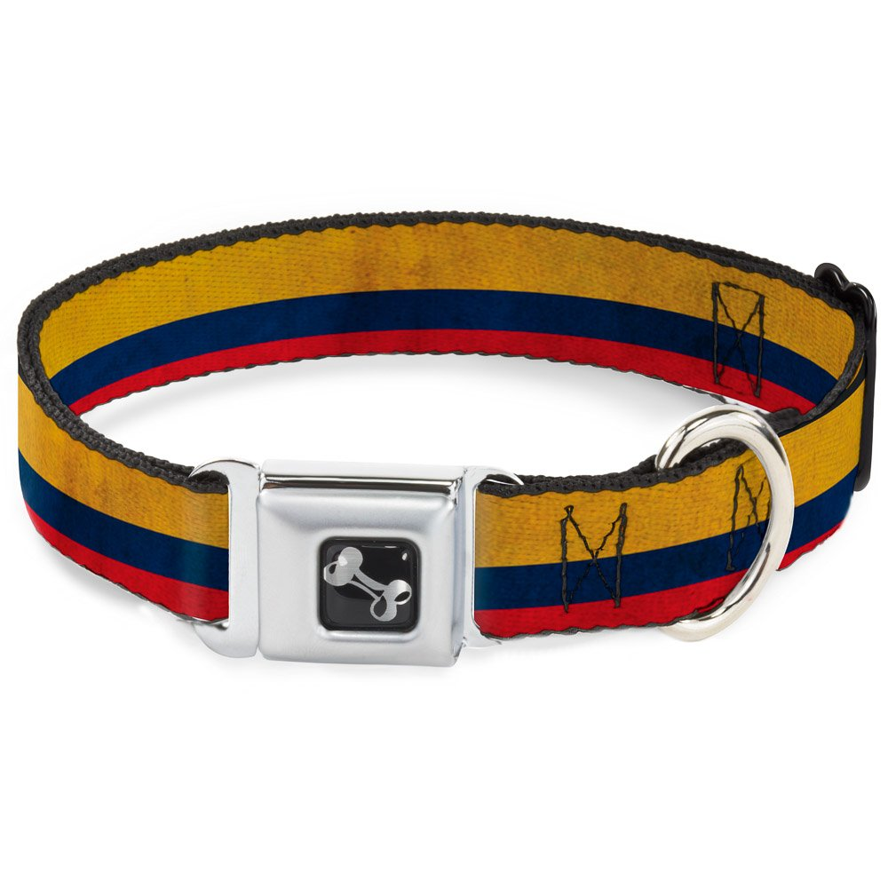 Buckle-Down 9-15  Colombia Flag Distressed Dog Collar Bone, Small