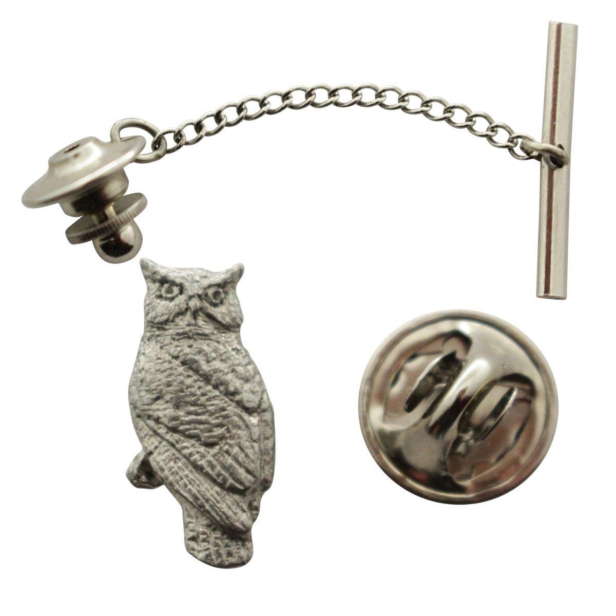 Owl Tie Tack ~ Antiqued Pewter ~ Tie Tack or Pin ~ Sarah's Treats & Treasures